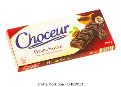 ARAD, ROMANIA - May 17, 2012: Choceur Herbe Sahne Chocolate. Studio shot, isolated on white background.