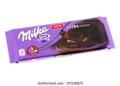 ARAD, ROMANIA - May 21, 2012: Milka Extra Cocoa Chocolate. Studio shot, isolated on white background.