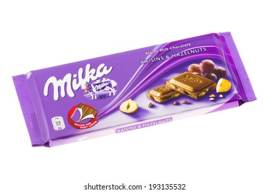 ARAD, ROMANIA - May 27, 2012: Milka Raisins and Hazelnuts Chocolate. Studio shot, isolated on white background.