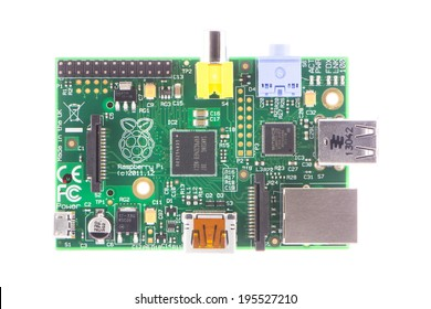 ARAD, ROMANIA - May 28, 2014: Raspberry Pi Model-B Rev2. The Raspberry Pi is a credit-card-sized single-board computer developed in the UK by the Raspberry Pi Foundation. Studio shot.