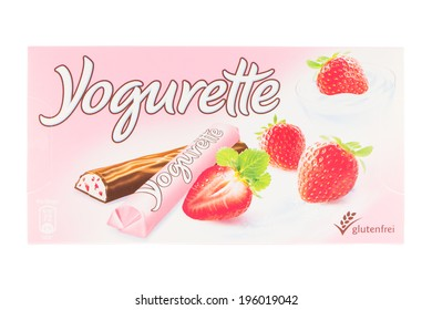 ARAD, ROMANIA - May 31, 2014: Ferrero Yogurette Chocolate. Studio shot, isolated on white background.