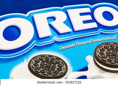 ARAD, ROMANIA - May 4, 2012: The name Oreo printed on cardboard box. Oreo cookies are produced by Nabisco, a division of Mondelez International. Studio Shot.