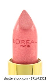 ARAD, ROMANIA - May 9, 2012: L'Oreal Paris Lipstick. LOreal is world leader in beauty products. Studio shot, isolated on white background.