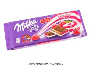 ARAD, ROMANIA - November 14, 2011: Milka Raspberry Cream Chocolate. Studio shot, isolated on white background.