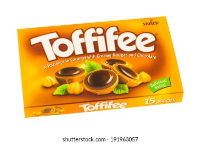 ARAD, ROMANIA - November 23, 2011: Box of Toffifee candies. Studio shot, isolated on white background.