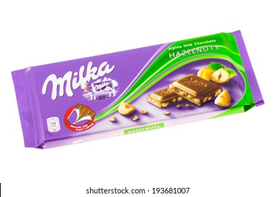 ARAD, ROMANIA - November 24, 2011: Milka Chocolate with Hazelnuts. Studio shot, isolated on white background.
