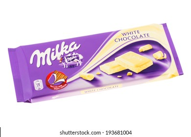 ARAD, ROMANIA - November 30, 2011: Milka White Chocolate. Studio shot, isolated on white background.