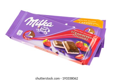 ARAD, ROMANIA - November 4, 2011: Milka chocolate bars. Studio shot, isolated on white background.