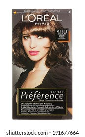ARAD, ROMANIA - October 12, 2012: Box of L'Oreal Recital Preference Haircolor. Studio shot, isolated on white background.