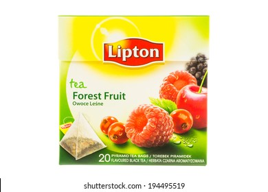 ARAD, ROMANIA - October 16, 2012: Box of Lipton Forest Fruit Tea bags. Studio shot, isolated on white background.