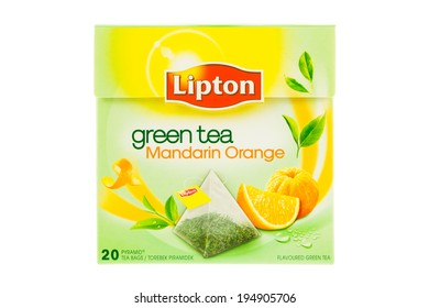 ARAD, ROMANIA - October 17, 2012: Box of Lipton Green Tea with Mandarin Orange Tea bags. Studio shot, isolated on white background.