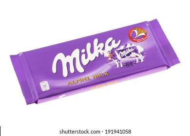 ARAD, ROMANIA - October 20, 2011: Milka Alpine Milk Chocolate. Studio shot, isolated on white background.