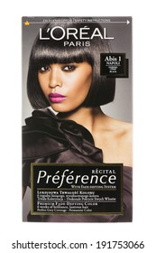 ARAD, ROMANIA - October 20, 2012: Box of L'Oreal Recital Preference Haircolor. Studio shot, isolated on white background.