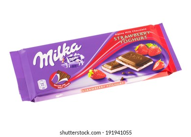 ARAD, ROMANIA - October 21, 2011: Milka Strawberry Yoghurt Chocolate. Studio shot, isolated on white background.