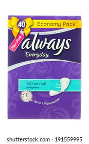 ARAD, ROMANIA - October 28, 2012: Box of Always Pantyliners. Studio shot, isolated on white background.