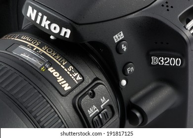 ARAD, ROMANIA - October 29, 2012: Close-up of a Nikon D3200 Camera. Studio shot.