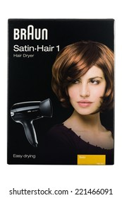 ARAD, ROMANIA - October 3, 2014: Braun Satin-Hair 1 Dryer Box.