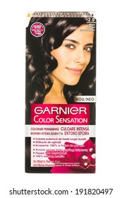 ARAD, ROMANIA - October 6, 2012: Box of Garnier Color Sensation Hair Dye. Studio shot, isolated on white background.