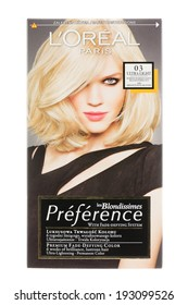 ARAD, ROMANIA - October 9, 2012: Box of L'Oreal Preference les Blondissimes Haircolor. Studio shot, isolated on white background.