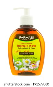 ARAD, ROMANIA - September 10, 2012: Farmasi Intimate Wash with Chamomile. Studio shot, isolated on white background.