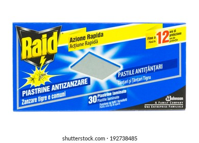 ARAD, ROMANIA - September 11, 2012: Box of Raid Anti-Mosquito Tablets. Studio shot, isolated on white background.