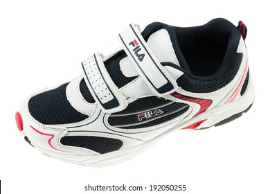 ARAD, ROMANIA - September 20, 2012: Fila shoe. Fila is one of the world's largest sportswear manufacturing companies. Studio shot, isolated on white background.