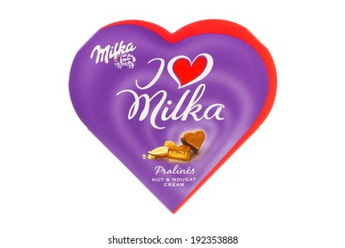 ARAD, ROMANIA - September 22, 2012: I Love Milka Pralines. Heart-shaped box.