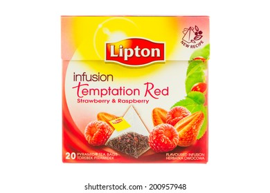 ARAD, ROMANIA - September 4, 2012: Box of Lipton Infusion Temptation Red Strawberry & Raspberry Tea bags. Studio shot, isolated on white background.