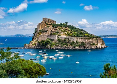 Aragonese Castle - Castello Aragonese on a beautiful summer day, Ischia island, Italy