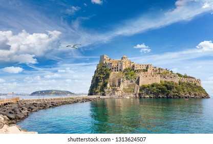 Aragonese Castle is most popular landmark and travel destination located in Tyrrhenian sea near Ischia island, Italy.