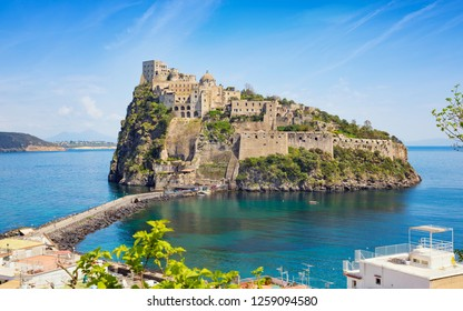 Aragonese Castle is most visited landmark and tourist destination located in Tyrrhenian sea near Ischia island, Italy.