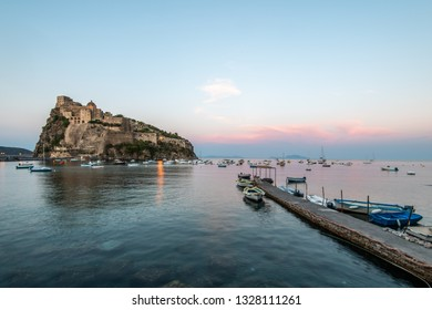 Aragonese castle  on the sunset. Ischia, Italy. Copy space.