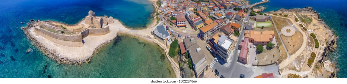 Aragonese Fortress in Calabria, Italy. Aerial view on a beautiful sunny morning.