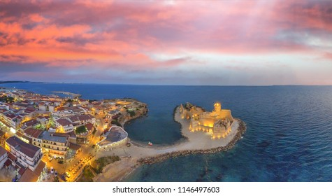 Aragonese Fortress, Calabria, Italy. Amazing aerial panorama at night, Le Castella.