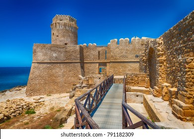 Aragonese Fortress in Calbria on a beautiful sunny day, Italy.