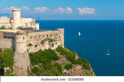 Aragonese-Angevine Castle on Mediterranean Sea coast. Gaeta, Italy