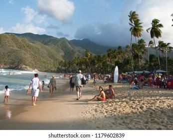 Aragua/Venezuela-January 07th, 2016:  People enjoying a sunny day in famous beach Choroni on the caribbean coast in Venezuela