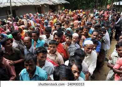 ARAKAN, BANGLADESH - AUGUST 21: Bangladeshi refugee children and women from Arakan go through a hard time in camps, on August 21, 2012 in Arakan, Bangladesh.