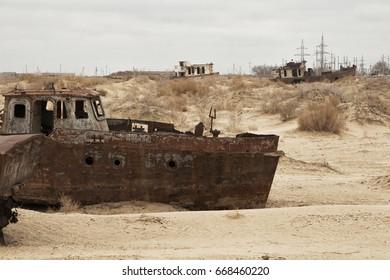 Aral sea shipwreck