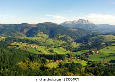 Aramaio valley with Udalaitz mountain. Basque Country