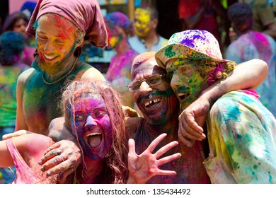 ARAMBOL, GOA - MARCH 27: Unidentified people celebrates Holi festival in Arambol Main Street, GOA, India on March 27, 2013. It's a religious spring holiday and also known as Festival of Colours.