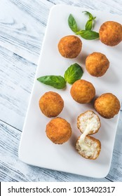 Arancini on the white plate