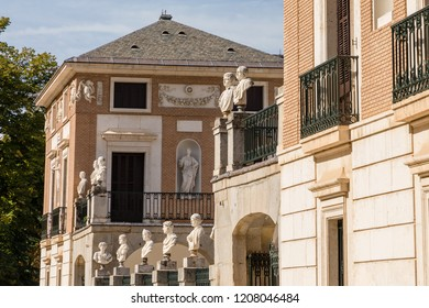 ARANJUEZ, SPAIN -  OCTOBER 13, 2018: Garden of the prince in Aranjuez, in this case the the house of the farmer, in the vicinity of the royal palace, OCT 13, 2018 in Aranjuez, Spain