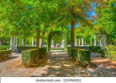 ARANJUEZ, SPAIN, OCTOBER 3, 2017: Gardens of royal palace of Aranjuez, Spain