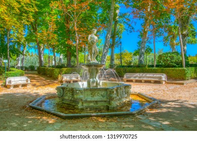 ARANJUEZ, SPAIN, OCTOBER 3, 2017: Fountain at gardens of royal palace of Aranjuez, Spain