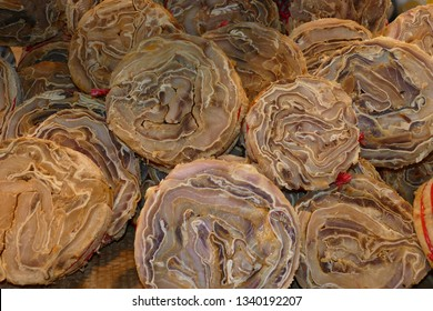 Arapaima gigas, also known as Pirarucu fish, dried, salted and rolled into rolls, considered the Brazilian cod. Arapaimidae family. Fish market in Belem - state of Para, Brazil
