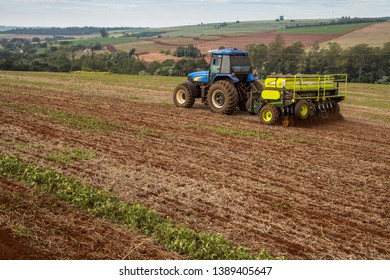 Arapongas / Parana / Brazil - May 03, 2019 - Tractor makes wheat planting in direct plantation system
