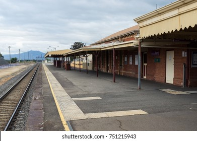 Ararat, Australia - October 21, 2017: the western Victorian town of Ararat is connected to Melbourne and Ballarat by VLine train. This is Ararat train station.