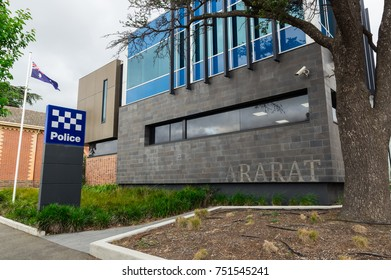Ararat, Australia - October 21, 2017: Victoria Police is the state police force in Victoria. This is the police station in Ararat in western Victoria.