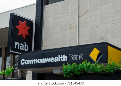 Ararat, Australia - October 21, 2017: the Commonwealth Bank and National Australia Bank are the largest and fourth largest banks in Australia. These branches are in Ararat.